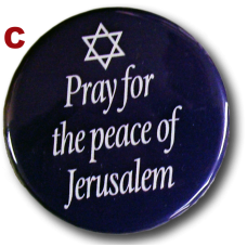 "Collar Pin, ""Pray for the Peace of Jerusalem,"" Pro-Israel, Four (4)"